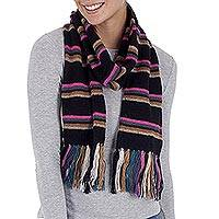 Scarf, 'Euphoric Vista in Black' - Artisan Crafted Striped Knit Wrap Scarf in Black from Peru