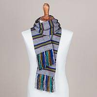 Scarf, 'Euphoric Vista in Smoke' - Artisan Crafted Striped Knit Wrap Scarf in Smoke from Peru