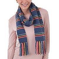 Scarf, 'Euphoric Vista in Azure' - Artisan Crafted Striped Knit Wrap Scarf in Azure from Peru