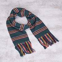 Scarf, 'Euphoric Vista in Teal' - Artisan Crafted Striped Knit Wrap Scarf in Teal from Peru
