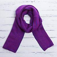 Scarf, 'Fuchsia Waves' - Striped Knit Wrap Scarf in Royal Blue and Fuchsia from Peru