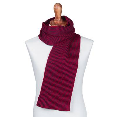 Scarf, 'Navy Passion' - Striped Knit Wrap Scarf in Navy and Crimson from Peru