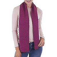 Scarf, 'Hot Pink Forest' - Striped Knit Wrap Scarf in Hot Pink and Avocado from Peru