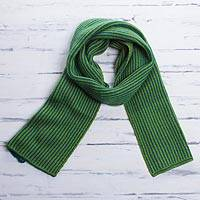 Scarf, 'Peacock Spring' - Peruvian Striped Knit Wrap Scarf in Peacock and Spring Green