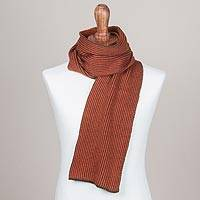 Scarf, 'Pumpkin Olive' - Striped Knit Wrap Scarf in Pumpkin and Olive from Peru