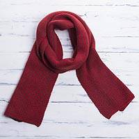 Scarf, 'Mahogany Sapling' - Striped Knit Wrap Scarf in Crimson and Mahogany from Peru
