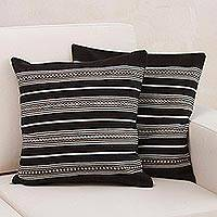 Alpaca blend cushion covers, 'Striped Fashion' (pair) - Pair of Alpaca Blend Striped Cushion Covers from Peru
