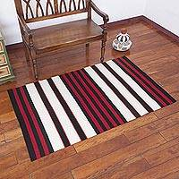 Wool area rug, 'Andean Hearth' (3.5x5.5) - Striped 100% Wool Area Rug from Peru (3.5x5.5)