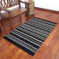 Wool area rug, 'Peruvian Hearth' (3.5x5.5) - Black and White Striped Area Rug from Peru (3.5x5.5)