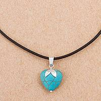 Sterling silver pendant necklace, 'Heart Fruit' - Sterling Silver and Reconstituted Turquoise Heart Necklace