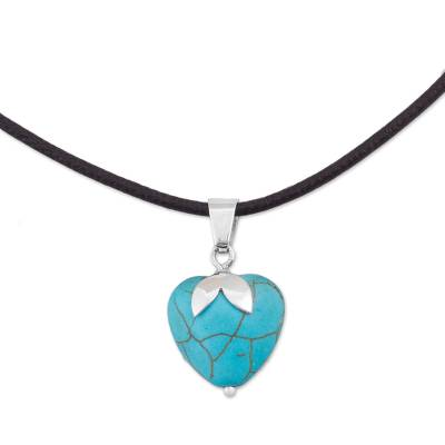Sterling Silver and Reconstituted Turquoise Heart Necklace