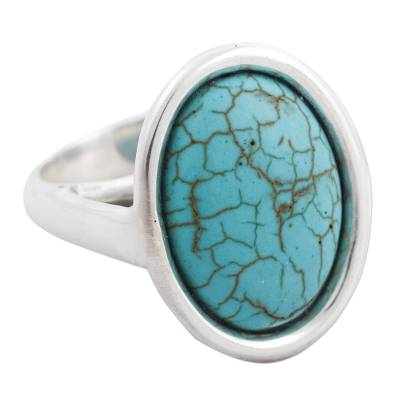 925 Sterling Silver Cocktail Ring with Turquoise Color Gem
