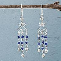 Sodalite chandelier earrings, 'Blue Curls' - Sodalite and Sterling Silver Chandelier Earrings from Peru