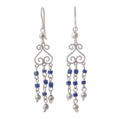 Sodalite and Sterling Silver Chandelier Earrings from Peru