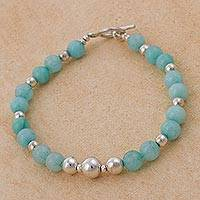 Amazonite beaded bracelet, 'Amazon Dreams' - Artisan Crafted Amazonite and 925 Silver Beaded Bracelet