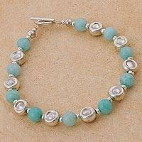 Amazonite beaded bracelet, 'Amazon Hope' - Artisan Crafted Amazonite and 925 Silver Beaded Bracelet