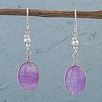 Amethyst dangle earrings, 'Forever Purple' - Amethyst and Sterling Silver Dangle Earrings from Peru