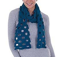 100% baby alpaca scarf, 'Peacock Circles' - Patterned Baby Alpaca Scarf in Peacock by Peruvian Artisans