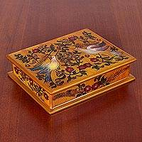 Reverse painted glass decorative box, 'Freedom Hummingbirds' - Hummingbird Reverse Painted Glass Decorative Box from Peru