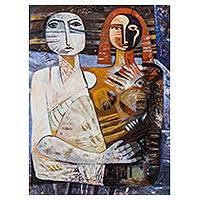 'Loving Each Other' - Signed Cubist Painting of a Couple From Peru