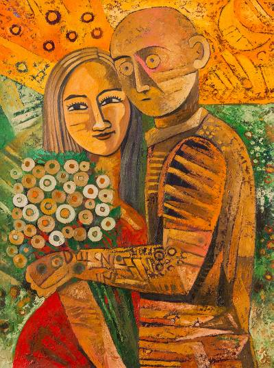 'Lovers' - Signed Cubist Painting of a Couple From Peru