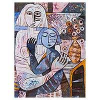 'Maternal Feeling' - Signed Cubist Painting of Mother and Child From Peru