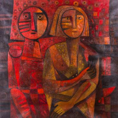 'Nighttime Charm' (2016) - Signed Painting of a Couple in Orange from Peru