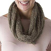 100% alpaca neck warmer, 'Olive Fluff' - Hand Crocheted 100% Alpaca Neck Warmer in Olive from Peru