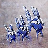 Blown glass silver leaf figurines, 'Blue Angelfish Trio' (set of 3) - Three Petite Hand Blown Glass Blue Angelfish Sculptures