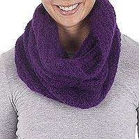 100% alpaca neck warmer, 'Boysenberry Passion' - Hand Crocheted 100% Alpaca Boysenberry Neck Warmer from Peru
