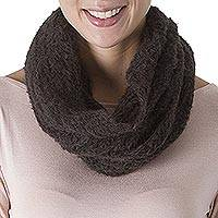 100% alpaca neck warmer, 'Ivy Temptation' - Hand Crocheted 100% Alpaca Neck Warmer in Dark Ivy from Peru