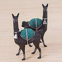 Silver accented cedar and chrysocolla sculptures, 'Regal Llamas' (pair) - Pair of Silver Accent Cedar and Chrysocolla Llama Sculptures