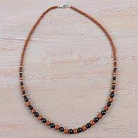 Ceramic beaded necklace, 'Shining Hillside' - 925 Sterling Silver and Ceramic Beaded Necklace from Peru