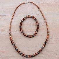 Ceramic jewelry set, 'Layers of Earth' - Sterling Silver and Ceramic Necklace and Bracelet from Peru