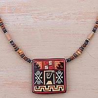 Ceramic pendant necklace, 'Chic Inca' - Sterling Silver and Ceramic Incan Pendant Necklace from Peru