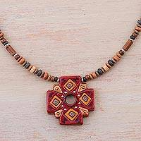 Ceramic pendant necklace, 'Andean Cross' - Sterling Silver and Ceramic Cross Necklace from Peru