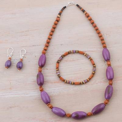 Sterling silver and ceramic jewelry set, 'Imperial Lilac' - Sterling Silver and Ceramic Purple Jewelry Set from Peru