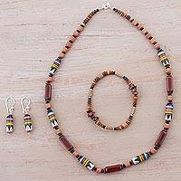 Ceramic and stone jewelry set, 'Divine Energy' - Marble Soapstone and Ceramic Jewelry Set from Peru