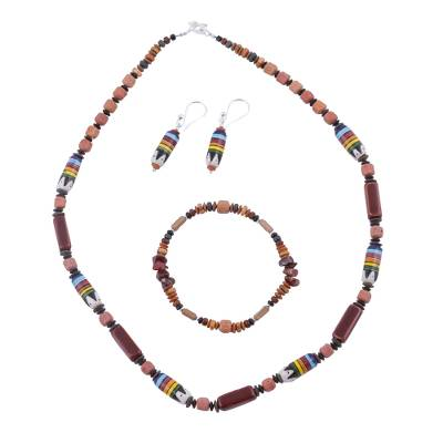 Marble Soapstone and Ceramic Jewelry Set from Peru