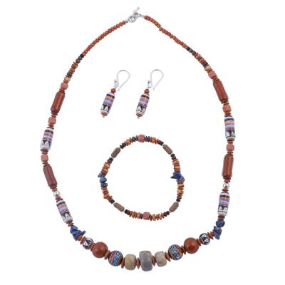 Colorful Sodalite and Ceramic Jewelry Set from Peru