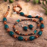 Ceramic and chrysocolla jewelry set,