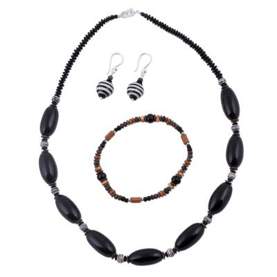 Black Sterling Silver and Ceramic Jewelry Set from Peru