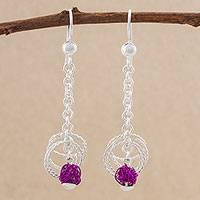 Sterling silver dangle earrings, 'Purple Nests' - Sterling Silver and Purple Steel Dangle Earrings from Peru