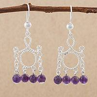 Amethyst chandelier earrings, 'Purple Palace' - Amethyst and Sterling Silver Peruvian Chandelier Earrings