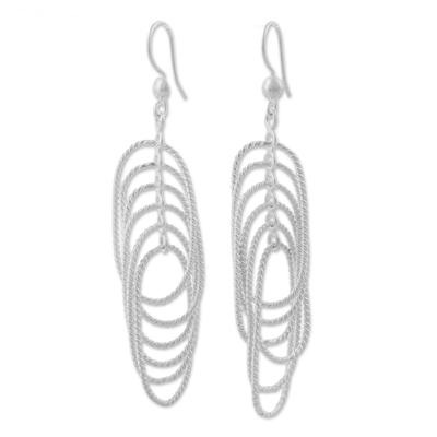 925 Sterling Silver Rope Motif Dangle Earrings from Peru