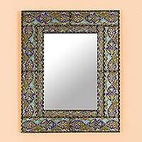 Wood wall mirror, 'Colorful Reflection' - Hand-Painted Rectangular Wood Wall Mirror from Peru