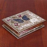 Wood jewelry box, 'Garden Butterfly in Silver' - Hand-Painted Wood Butterfly Jewelry Box in Silver from Peru