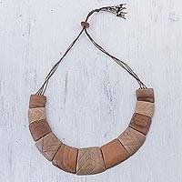 Wood statement necklace, 'Fierce Nature' - Handcrafted Brown Wood Statement Necklace from Peru