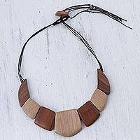 Wood statement necklace, 'Natural Fashion' - Brown and Beige Adjustable Wood Statement Necklace from Peru