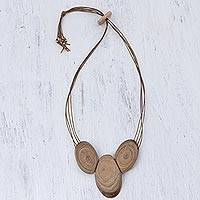 Wood pendant necklace, 'Natural Rings' - Handcrafted Natural Wood Pendant Necklace from Peru